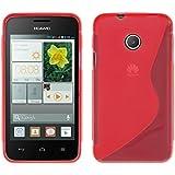 kwmobile FUNDA de TPU silicona para Huawei Ascend Y330 Diseño línea en S rojo transparente - Estilosa funda de diseño de TPU blando de alta calidad