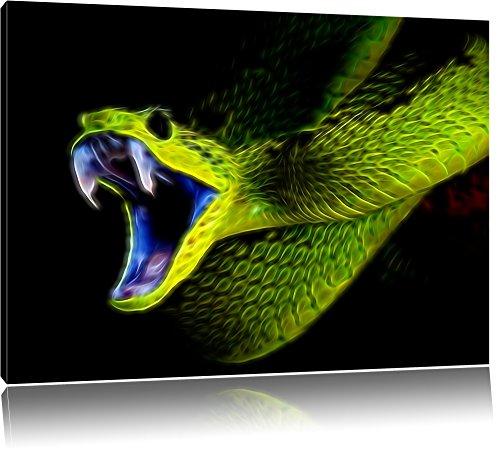 Dark Grüne Schlange, Natur, USA Bild auf Leinwand, XXL riesige Bilder fertig gerahmt mit Keilrahmen. Kunstdruck auf Wandbild mit Rahmen. Günstiger als Gemälde oder Ölbild, kein Poster oder Plakat , Format:80x60 cm - Schlange Leinwand
