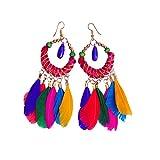 #10: SSVT Muticolor Feather Pom-Pom Earring for Women/Girls