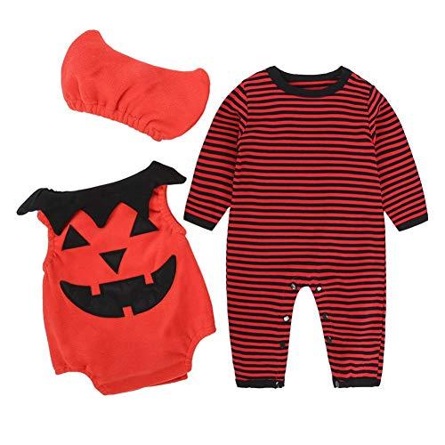 Wongfon Newborn Halloween Kostüm 3 Stück gestreiften Overall + Kürbis Strampler + Hut Set für 3-24M Jungen und Mädchen
