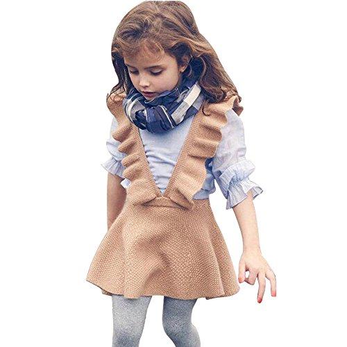 (Kinderkleid Honestyi Herbst Kleinkind Mädchen Kinder Baby Stricken Pullover Solid ärmellosen Rüschen Kleid Kleidung (Braun,2))