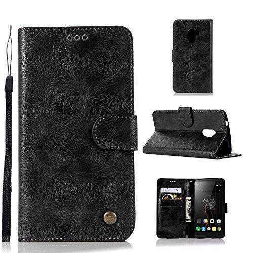 kelman Hülle für Lenovo A7010 / Lenovo Vibe K4 Note Hülle Schutzhülle PU Leder + Soft Silikon TPU Innere Schale Brieftasche Flip Handyhülle - [JX06/Schwarz]