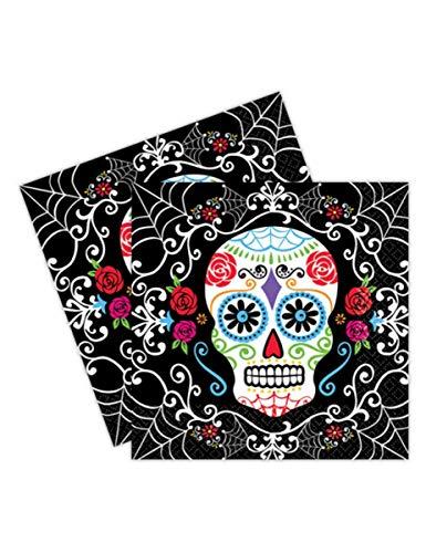 Amscan Sugar-Skull-Servietten Tag der Toten Tischdeko 20 Stück schwarz-bunt 33x33cm Einheitsgröße