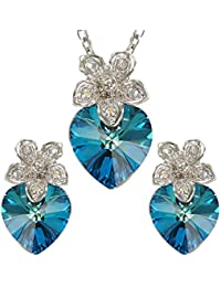 Peora Platinum Plated Ocean Blue Crystal Heart Pendant Set With Earrings For Women & Girls