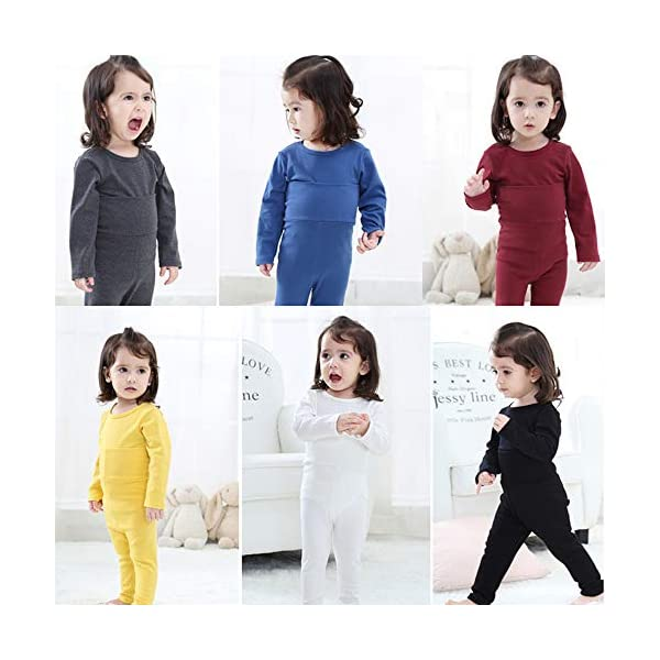 Eastern Corridor-EU - Conjunto de ropa interior térmica para bebés y niños (algodón, 2 piezas), color rosa gris oscuro… 4