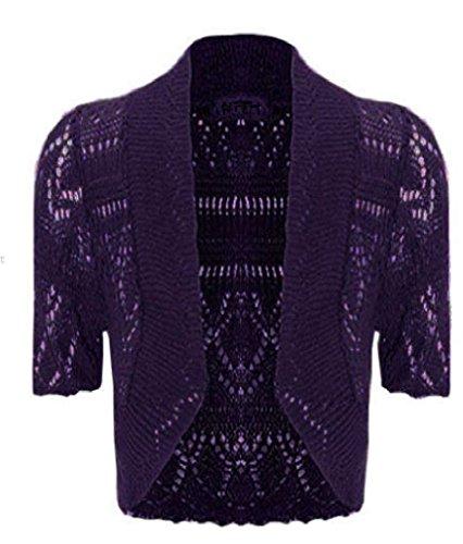 Taille plus pour femme en crochet Long pour femme à manches courtes Cardigan Boléro Top 16–30 Violet
