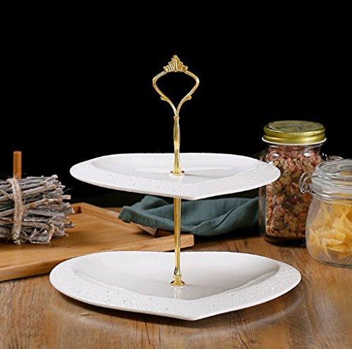 2/3-couche Fruit Plate Céramique Heart-shaped Relief Multi-couche Fruit Plate Cake Plate Dessert Plate ( couleur : Or , taille : 2 couche )