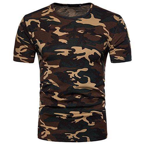 Camiseta Hombre,Longra ★ Camiseta de Camuflaje Hombre Militares Camisetas Deporte Ropa Deportiva Camisa de Manga Corta de Camuflaje Slim Fit Casual Para Hombres Tops Blusa (Amarillo, XL)