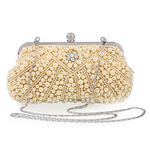 Donna perla Medium damigella matrimonio Damara Clutch Beige (beige)