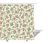 Tenda da Doccia Yeuss Shabby Chic di, Composizione Floreale Vintage con Illustrazione di Stile Schizzo Natura sbocciante, Arredo Bagno in Tessuto con Ganci, Multicolor 60 'x72'