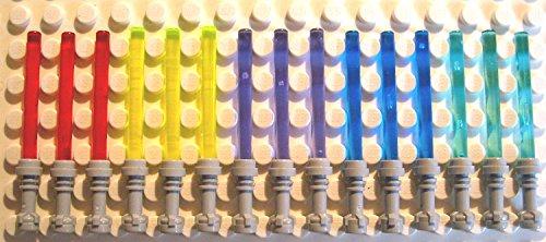 12x Lego Laserschwert in 4  Farben mit grauen Griff