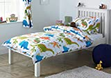 Dinosaurio infantil individual (135cm x 200cm) Funda Nórdica Bed Set Inc. almohada (blanco, naranja , verde, azul)