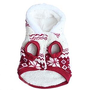 Etosell Manteau en polaire velours à capuche pour chien Motif flocon de neige