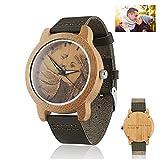 Benutzerdefinierte Foto Gravierte Holz Uhren Für Männer - Natürliche Hölzerne Armbanduhr Personalisierte Männer