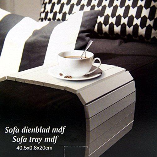 Sofatablett MDF Flexablage Tablett Ablage Armlehnen Sofa Couch Ablage (Weiß (pur))