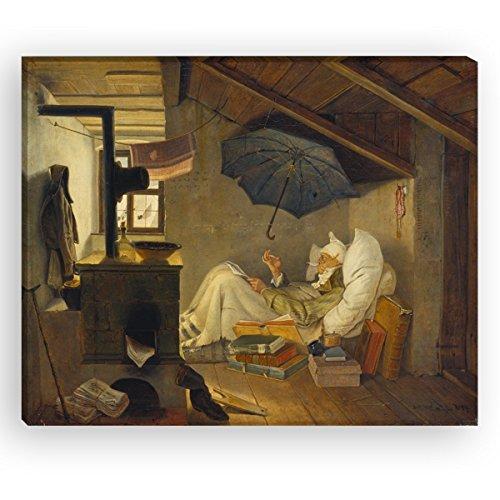Wandkings Leinwandbilder von Carl Spitzweg - Wähle ein Motiv & Größe: 'Der arme Poet' - 40 x 30...