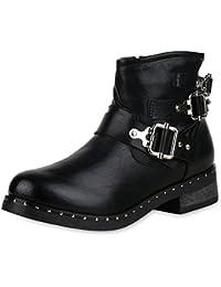 7783aad1b100 SCARPE VITA Damen Stiefeletten Biker Boots Leicht Gefüttert mit Blockabsatz  Nieten Schnallen