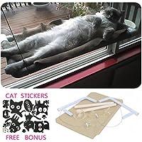 Katzenfenster Hängematte / Barsch für Sonnenbad, COUTUDI Bequemes stillstehendes Schlafbett für große Katzen-Miezekatze von bis zu 33lb
