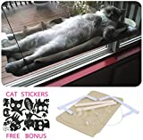 Cat Window Hammock / Perch for Sunbath, COUTUDI Comfortable Resting Sleeping Bed for Large Cat Kitty of Up to 33 lb