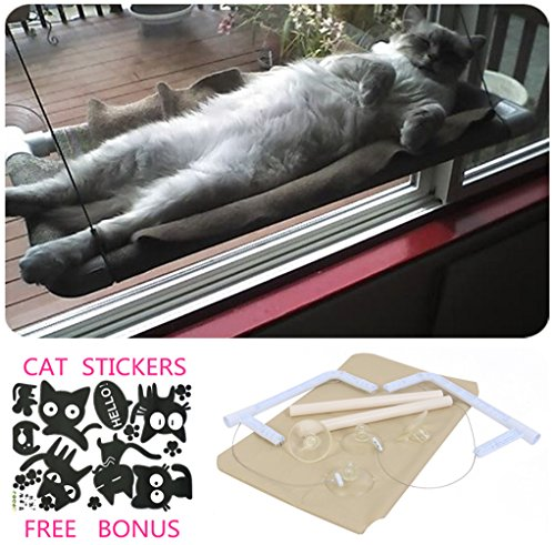 Cat Window Hammock / Window Hanger for Sunbathing, COUTUDI Comfortable Resting Bed for Large Cat Kitty Up to 33 lb