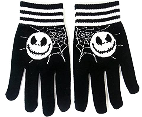 Jack Skellington style Gloves Nightmare Before Christmas Black with Spider