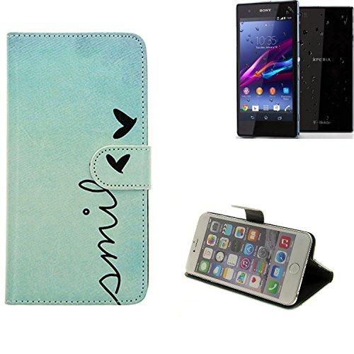 Per Sony Xperia Z1 Compact copertura smartphone cassa di protezione Slim Flipstyle cover Custodia protettiva Portafoglio libro Book style Case Wallet Etui 'SMILE' per Sony Xperia Z1 Compact -