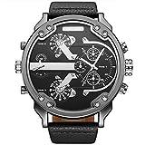 OULM 3548 Special Design Men 2 Movimiento Reloj de Pulsera Grande Forma Redonda Correa de Cuero Reloj de Pulsera de Cuarzo Masculino