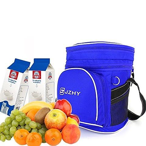 JZHY Wasserdichte isolierte Kühltasche, 6-Kann Kapazität mit Gefriermaschine-Safe, Nylon-Haltbarkeit, Reißverschluss u. Multi Taschen-Entwurf für das reisende Wandern Camping Lunch & Picnic (Blau)