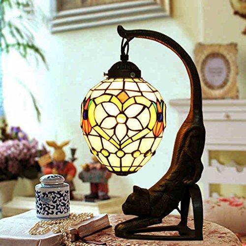 Fonly Farbe Mosaik Glas Rosa Blume Sitzecke Schlafzimmer Nachttisch Retro Cat Lampe Tischlampe (Blumen Led-zeichen)