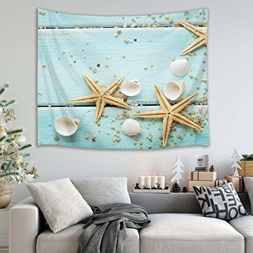 Thème marin planche de bois étoile de mer coquillages image impression tapisserie murale pique-nique plage drap de table nappe accessoire maison 150 largeur x 100 hauteur cm