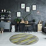 Luxus Schlingen Teppich Magic Light rund - Farbe wählbar: Pink, Blau, Türkis, Orange, Gelb, Lila | schadstoffgeprüfte und strapazierfähige Qualität | für Wohnzimmer Schlafzimmer Jugendzimmer und Büro, Farbe:Gelb, Größe:150 cm rund