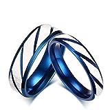 Bishilin Mode Paarringe Edelstahl mit Kristall Zirkonia Hochglanzpoliert Matte Fertig Paarringe Blau Ringe Demen Größe 54 (17.2)&Herren Größe 62 (19.7)