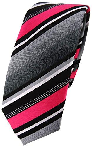 TigerTie schmale Designer Krawatte in pink silber grau weiss gestreift - Schlips Tie