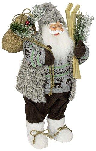 Weihnachtsmann Santa Nikolaus Milo mit schönem Gesicht und vielen Details / Größe ca.60cm / grauer Fellmantel, graue Fellmütze, braune Hose, weiße Stiefel, Trendyshop365