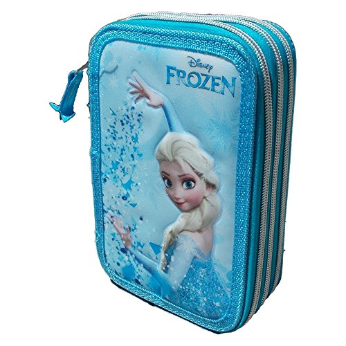 Frozen elsa astuccio scuola disney 3 zip/cerniere porta colori giotto cm. 20x13x6 - fr0244
