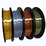KEHUASHINA 4pcs Filament PLA d'imprimante 3D filat soie, 1.75mm bobine de 0,5 KG avec quatre couleurs or, argent, cuivre, bronze