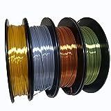 KEHUASHINA Filamento PLA Silk seda de 1.75 mm para impresora 3D - 1kg de bobina - Accesorio de impresora 3D. Material de impresión 3D (Oro + plata + cobre + bronce)