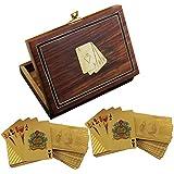 Caso titular de la tarjeta de juego de madera - 2 cubiertas de oro del dólar sembraron jugando a las cartas de juego - caso del recorrido de la tarjeta - 3,81 x 15,24 x 11,43 cm