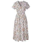 MRULIC Langes Parteikleid Damen und Mädchen Liebling Chiffon Knielang Kleider Sommer Populäre Heiß Stil(C-Weiß,EU-42/CN-2XL)