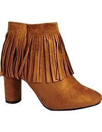 Mujeres Tan Franja Con Flecos Moda Botines Tacones Zapatos Tamaño 3-8 UK6/EURO39/AUS7/USA8
