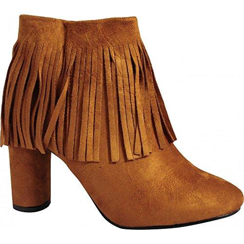 Womens Stiefeletten Bräune Rande Gefranst Mode Pumps Schuhe Größe 3-8 UK6/EURO39/AUS7/USA8 (Braune Fransen-stiefel)