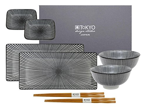 Tokyo Design Studio, 2 Sushi Assiette+4 bol+ 2 baguette, porcelaine japonais, Sendan Tokusa black
