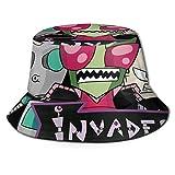 UOSIQZDF One Size Fascinator Hut Fisherman's Hat Black Gedruckt Invader Zim Strandhut