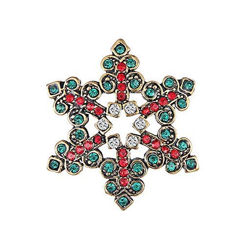 Ogquaton Praktische Weihnachten Schneeflocke Brosche Pins Kleidung Taschen Rucksäcke Jacke Abzeichen Zubehör für Weihnachten