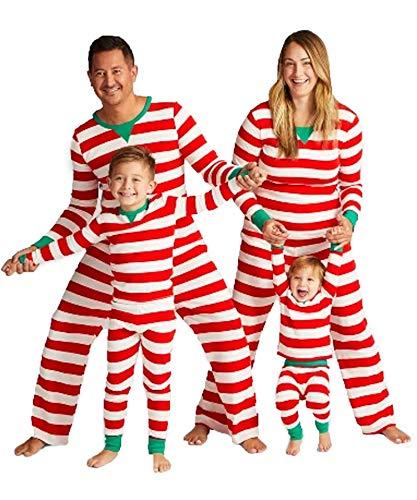 (MAXMODA Streifen Print Flanell Weihnachten Passende Familie Pyjamas)