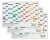 3 Stück Rainbow Wandkalender / Wandplaner 2019 - gerollt DIN A1 Format (594 x 841 mm) mit 14 Monaten, kompletter Jahresvorschau 2020 und Ferientermine/Feiertage aller Bundesländer