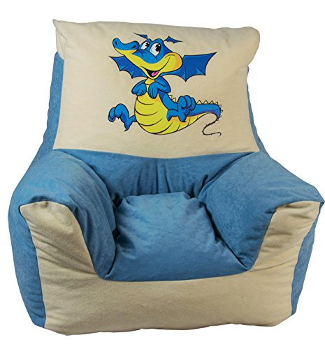 Heunec - 775398 - Kindersitzsessel Drache, Circa 48 cm, blau/ beige