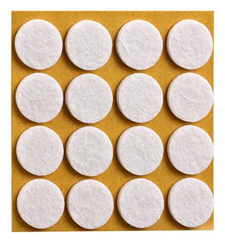 haggiy® Filzgleiter, selbstklebend, rund, Ø=22mm, weiß (16 Stück)