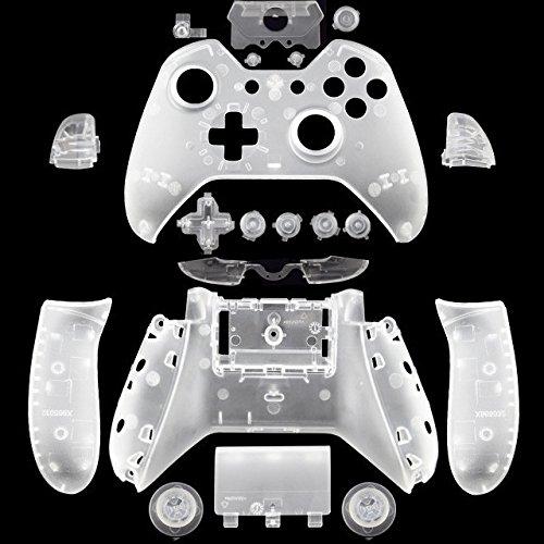 Beracah Gehäuse Gehäuse Gehäuse Komplettset Blenden Tasten für Xbox One Elite Controller mit 3,5 Klinke transparent farblos