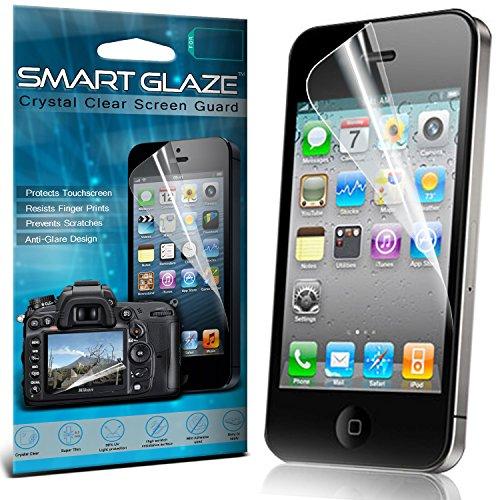 Premium d'écran LCD Crystal Clear Protections Packs Avec Chiffon & Demande de carte pour Apple iPhone 4 Pack Of 6 Par Smart Glaze® Protecteur d'écran (Pack 10)